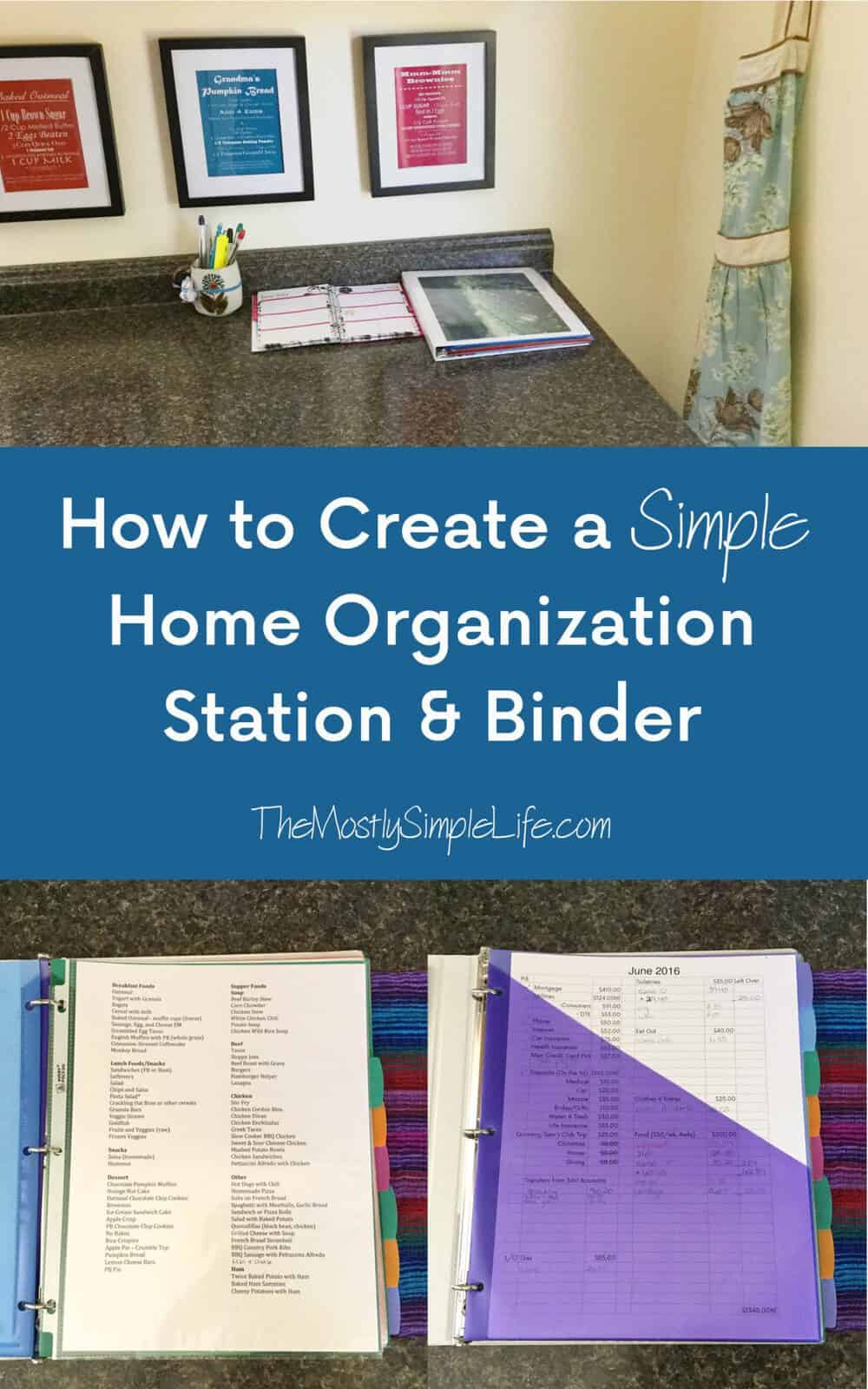 Home Organization Creating A Simple Home Organization Station Binder The Mostly
