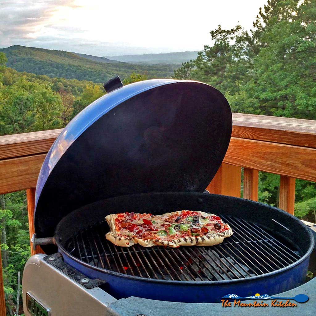 Coal Bbq Grilled Pizza On A Charcoal Grill