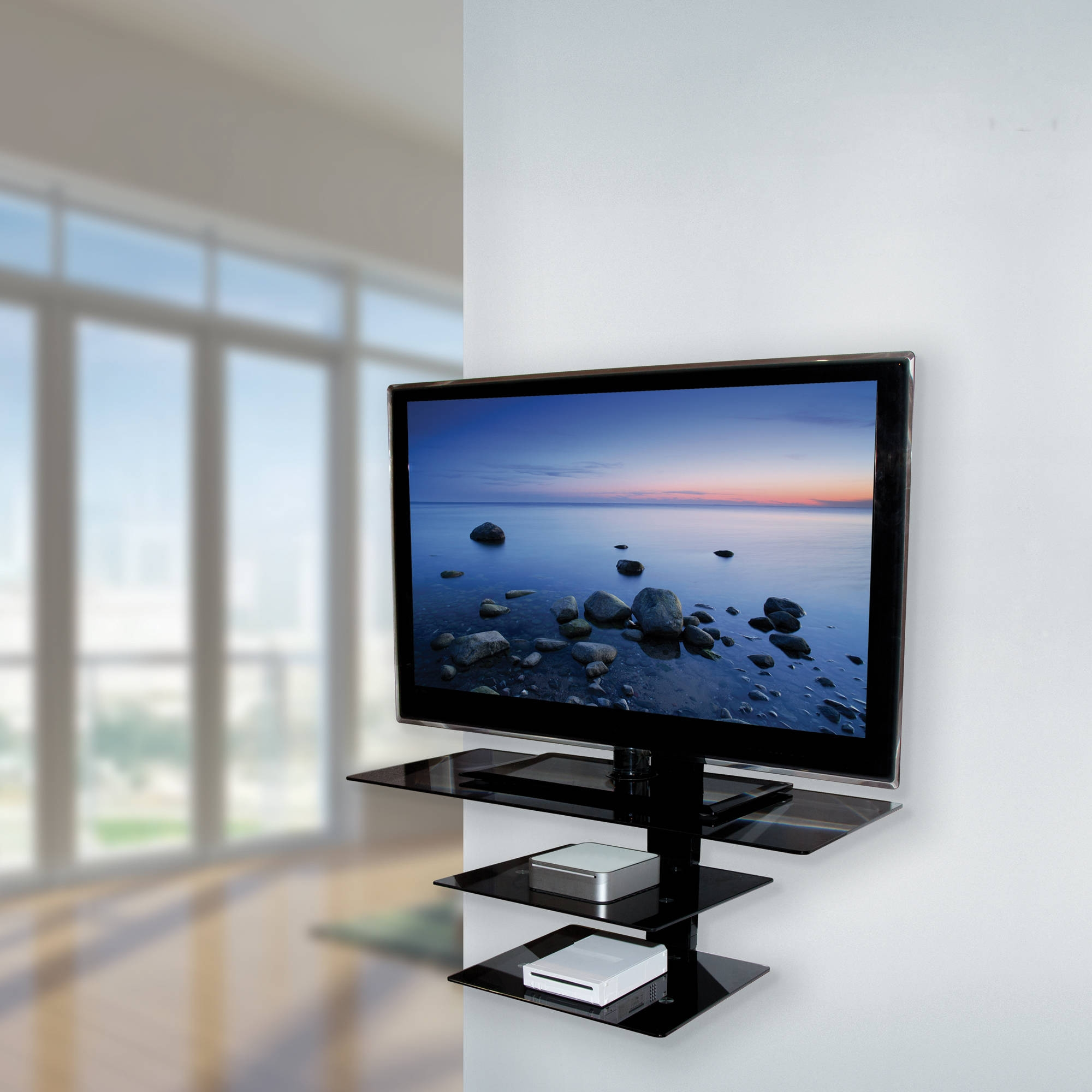 Tv Wall Mount Design 15 Ideas Of Black Glass Shelves Wall Mounted
