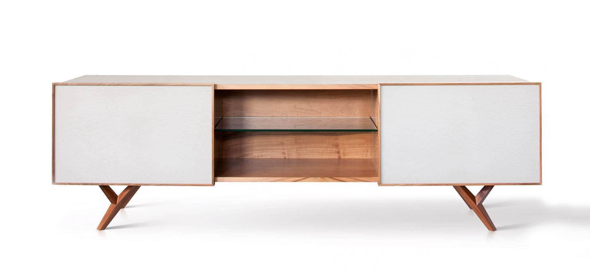 Moderne Sideboards 15 Collection Of White And Walnut Sideboards