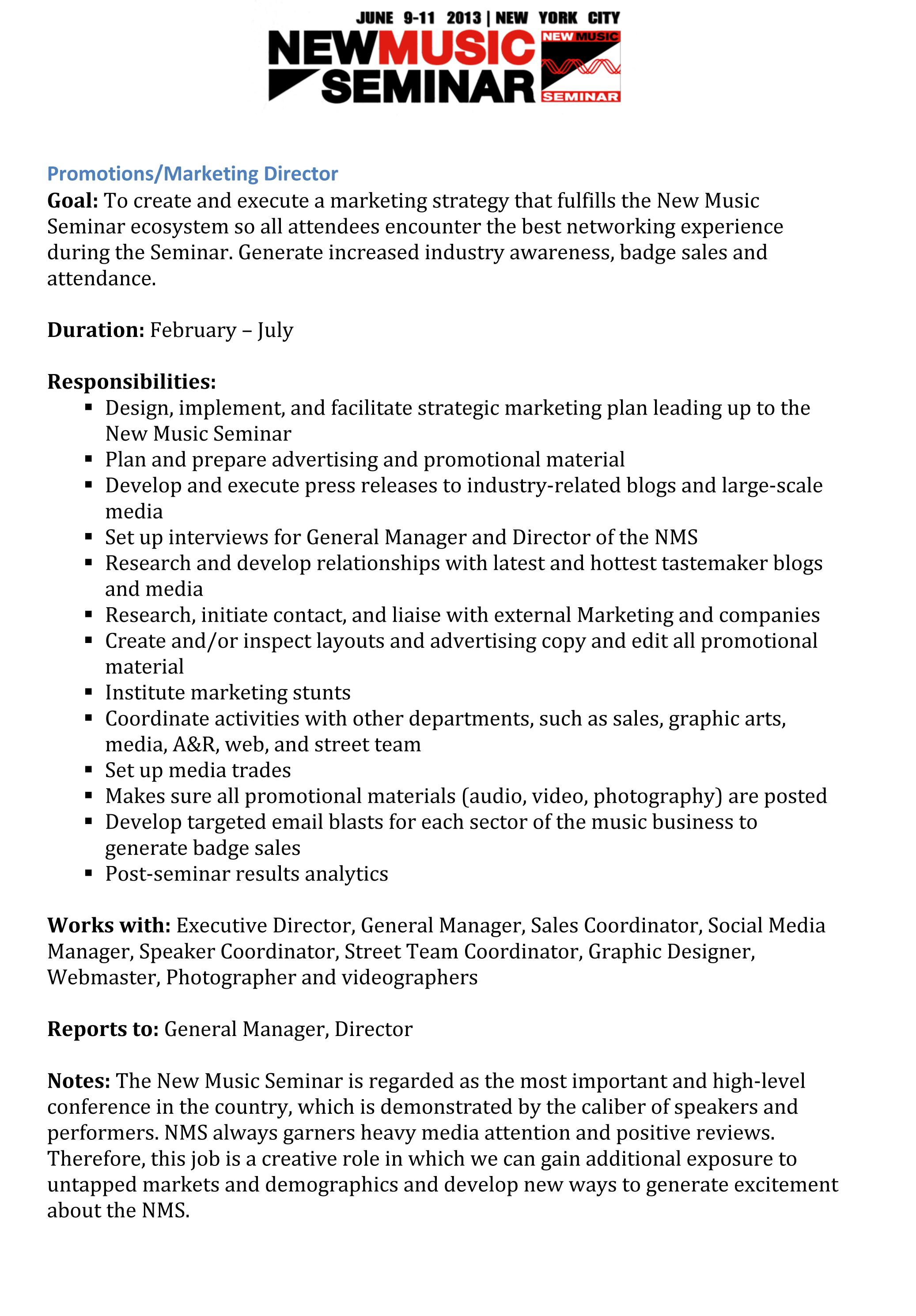 Job Description Marketing Promotions Manager – Photographer Job Description