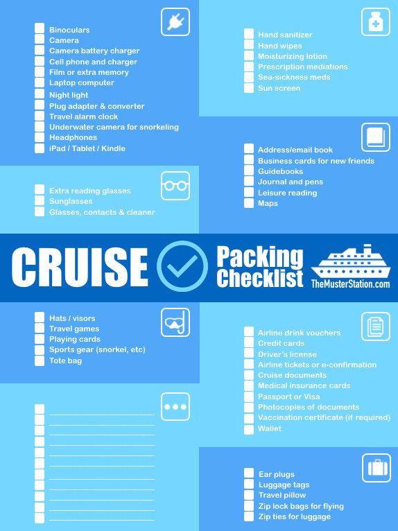 Cruise Packing List PDF \u2013 Free Printable Download! The Muster Station - 7 day cruise packing list
