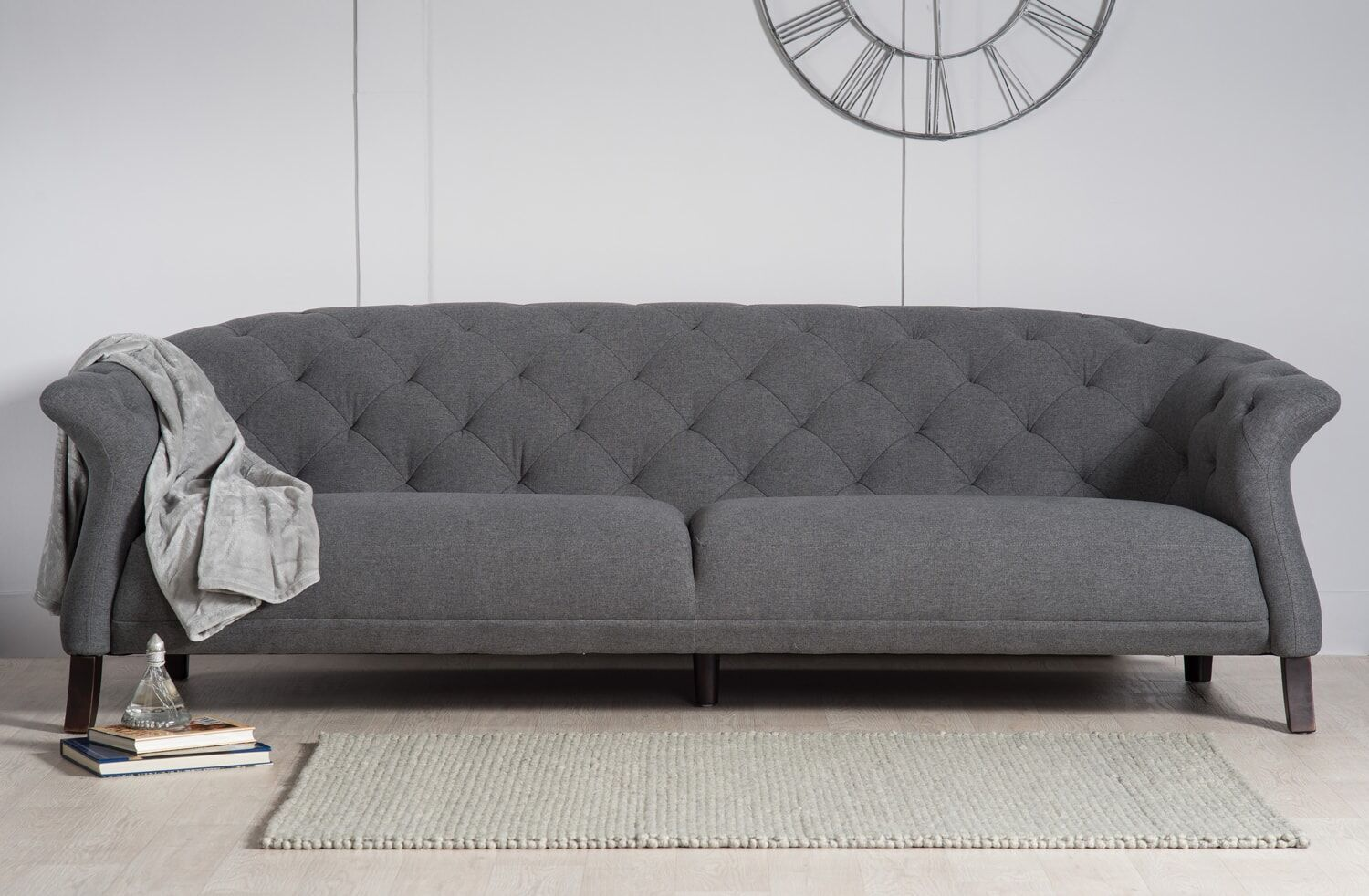 4 Seater Chesterfield Corner Sofa Crispin 4 Seater Modern Chesterfield Sofa, Grey Modern