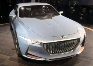 Genesis New York Concept Debut hybrid sports sedan grille