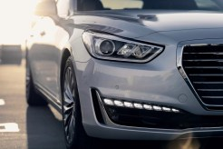 2017 Genesis G90 model overview silver car headlight