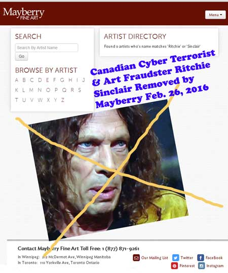 On Feb. 26, multiply-judicially discredited Ritchie Sinclair is delisted from Mayberry Fine Art where he was briefly listed as an artist it was representing.