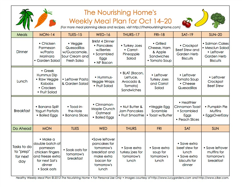 Meal Plan Monday October 14\u201327 - The Nourishing Home - healthy weekly meal plans
