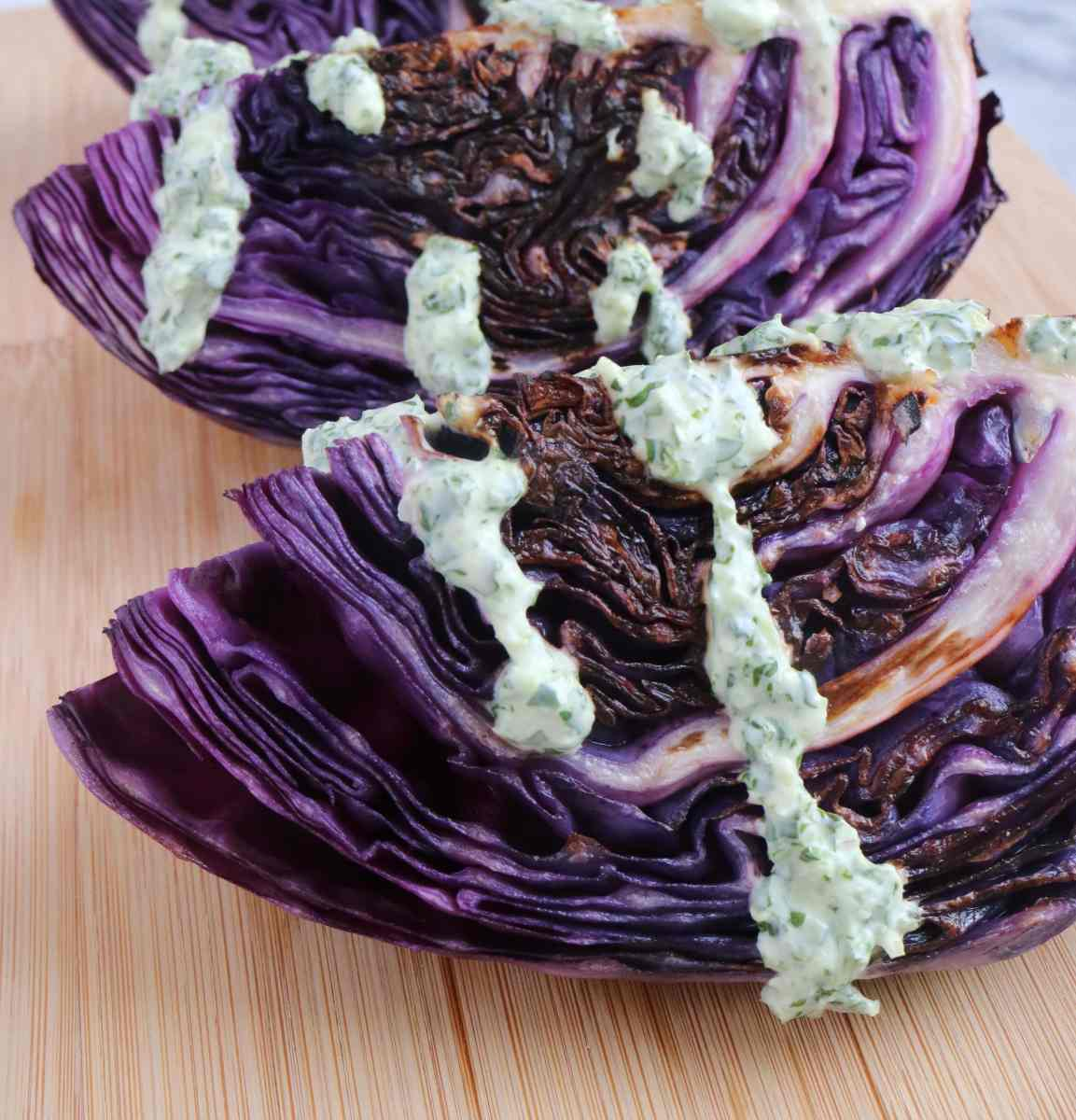 Seared Red Cabbage with Creamy Chimichurri