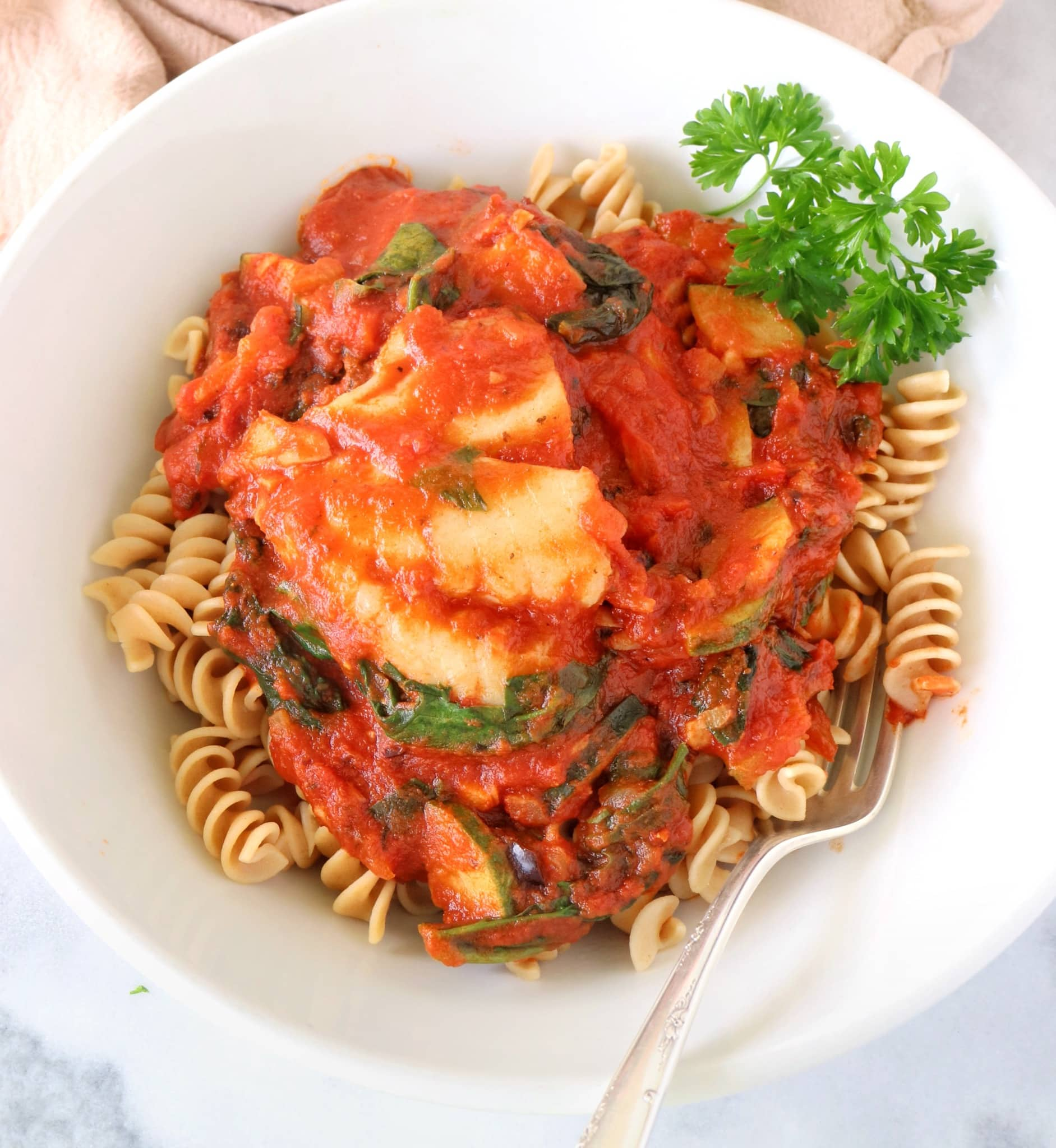 Mediterranean Cod with Rotini + Ragu Homestyle Pasta Sauce