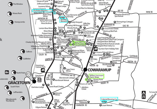 Marg River Gourmet-Brewery Tourism Map