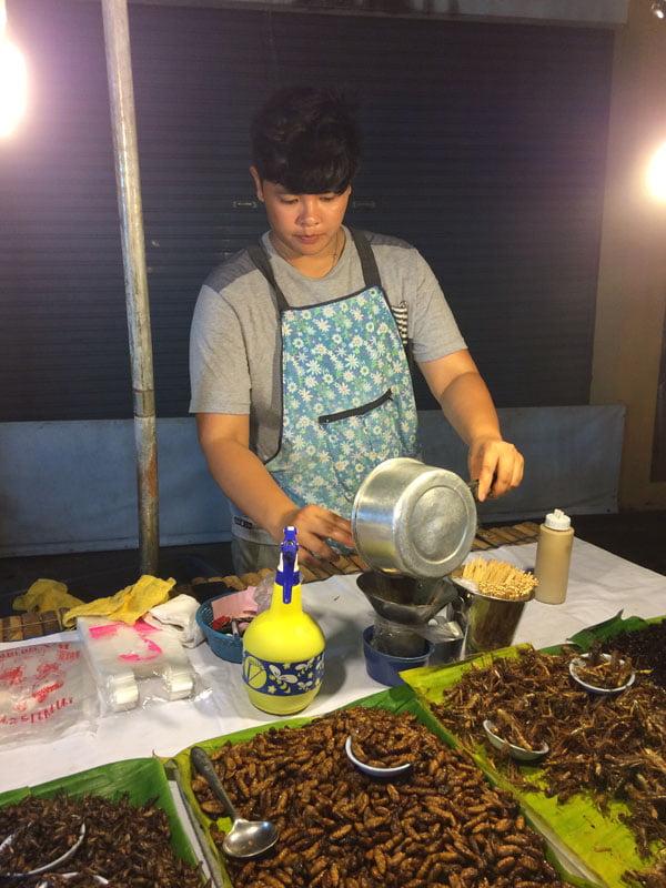 Phuket Wat Suwankiriket Market Insects Prep