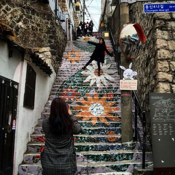 Seoul Ihwa Mural Village Flower Mosaic Stairs