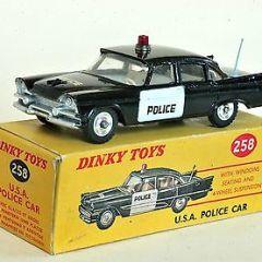 Vintage Original Dinky Toys Dodge Royal Sedan USA Police Car No 258 VGC Boxed.
