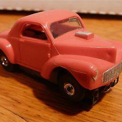 Vintage HO Scale Aurora Slot Race Car ~ FORD Willys~ Red ~ Complete ~ VERY NICE!