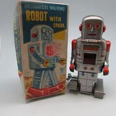 Fantastic Vintage Tin Plate Clockwork Wind Up Walking Robot with Key – c1960's