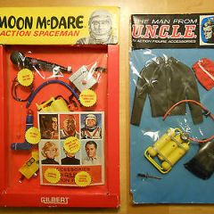 Gilbert Moon McDare Spaceman + The Man from U.N.C.L.E. action figure accessories