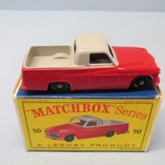 "Matchbox Reg Whls 50A Commer Pick Up Gray & Red / Knobby BPW / ""D"" Box"