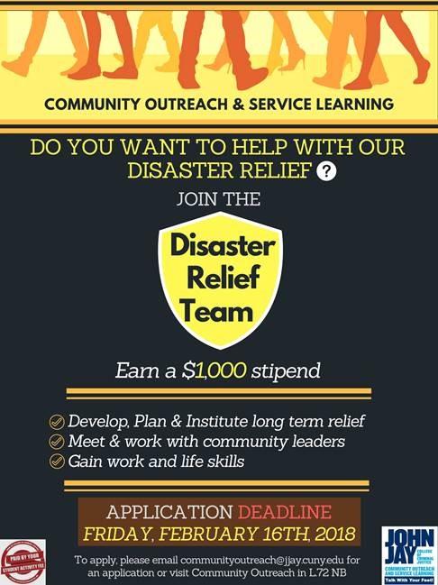 John Jay\u0027s Disaster Relief Team $1,000 (2/16/18) \u2013 Opportunity Hotspot - Disaster Relief Flyer