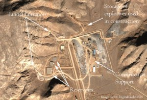 Tunnels at Esfahan, Feb 2005 (Annotations: Institute for Science and International Security/ISIS)