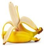Ripe peeled banana isolated on white background