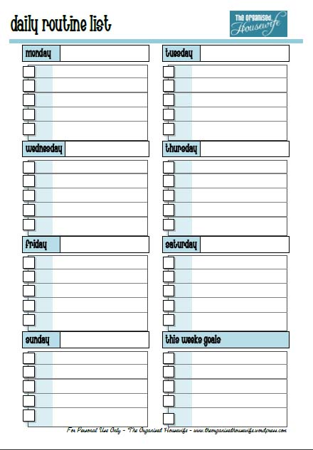 daily routine printable - Holaklonec