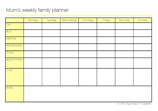 family weekly planner - Funfpandroid