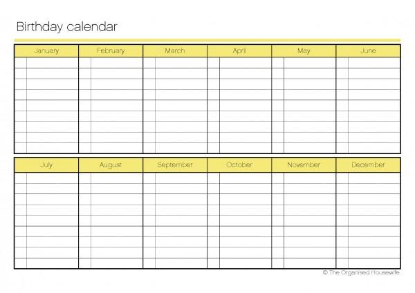 Printable} Birthday Calendar - The Organised Housewife - birthday list template