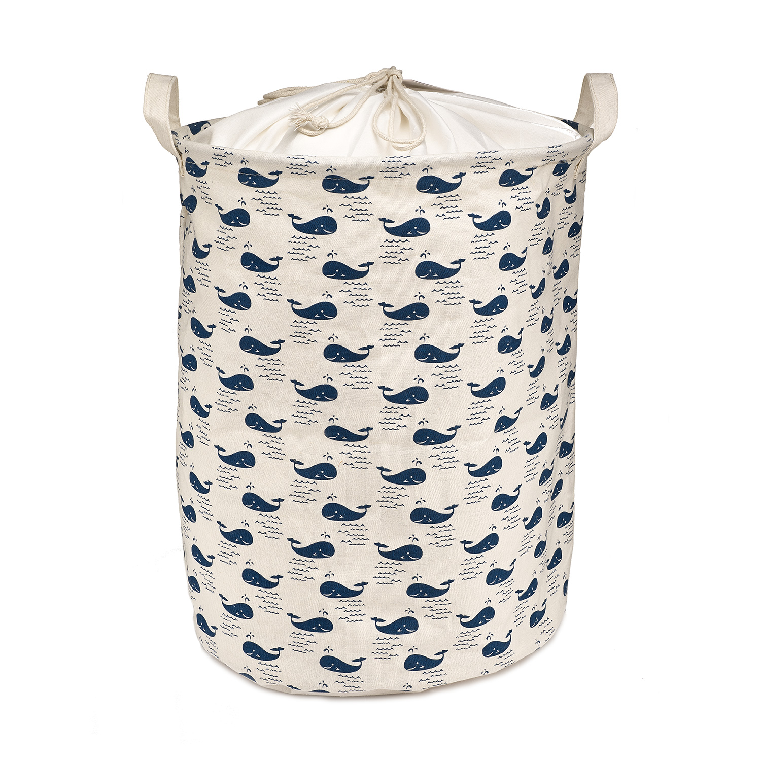 Kids Clothes Hamper Whale Patterned Cotton Fabric Collapsible Kids Laundry