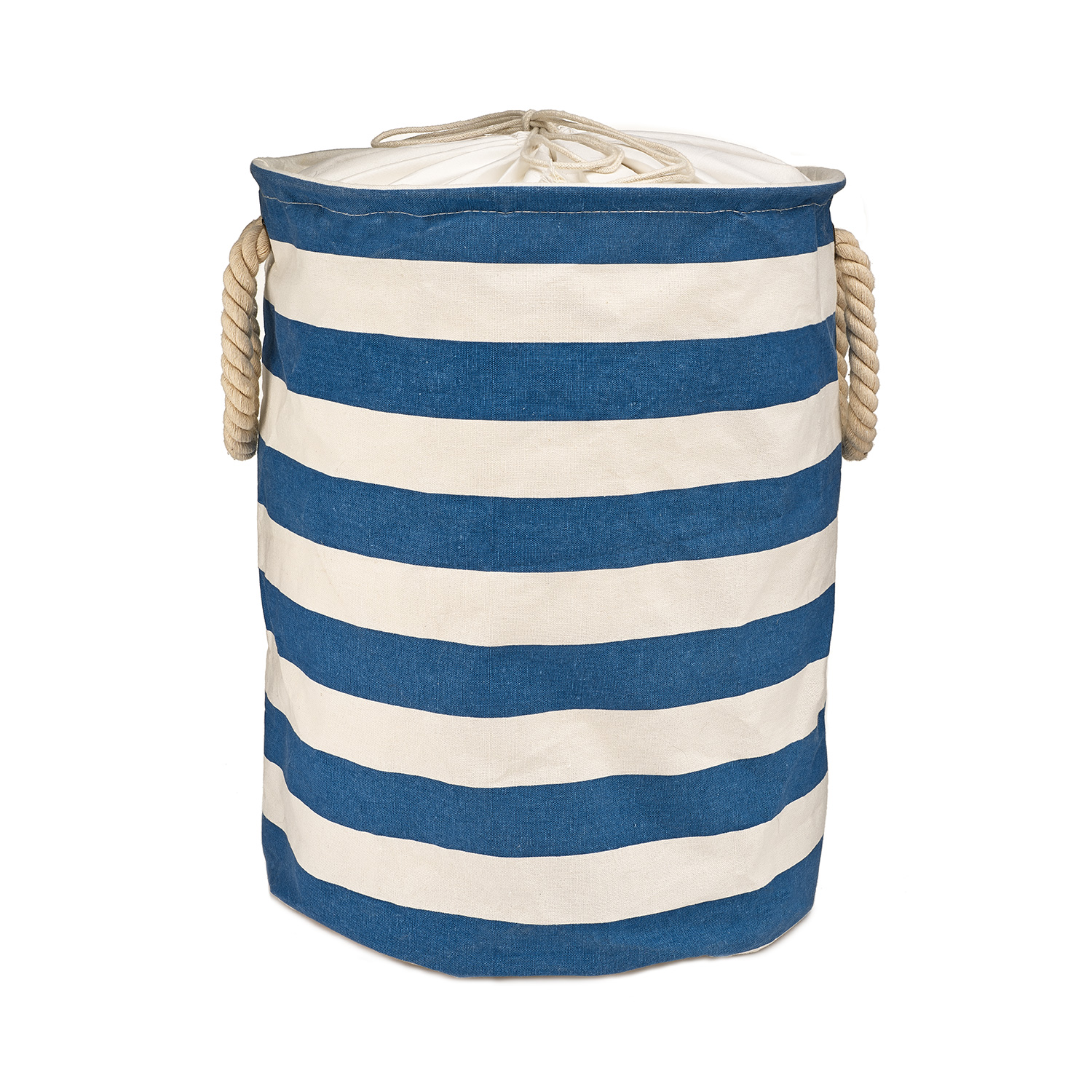 Collapsible Hamper Blue Striped Cotton Fabric Collapsible Kids Laundry Hamper
