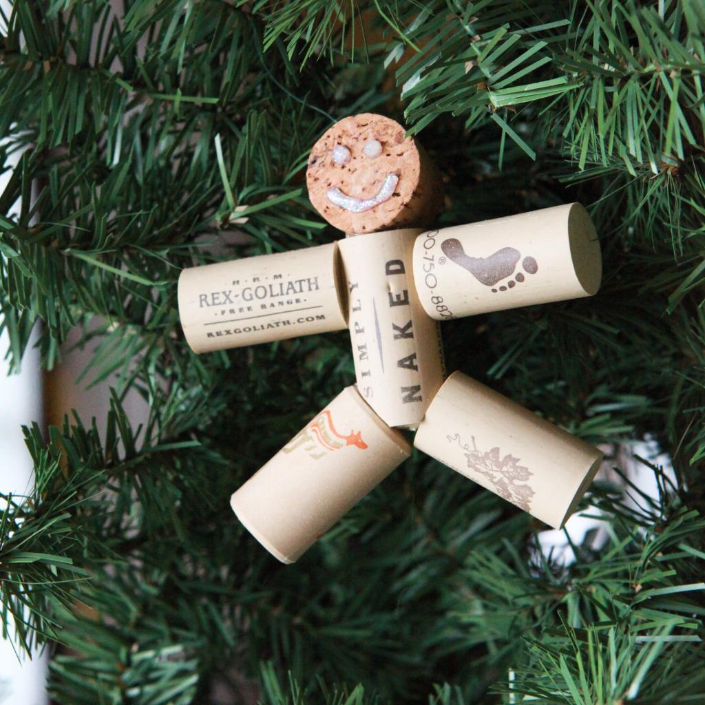 Wine cork gingerbread man ornament