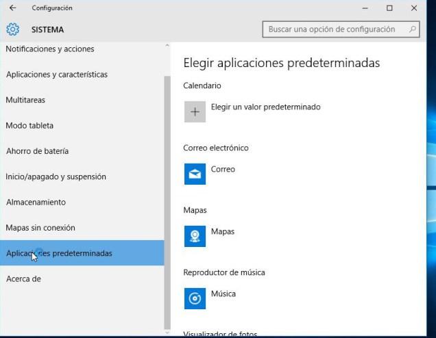 Configuracion - Administrar aplicaciones predeterinadas en Windows 10