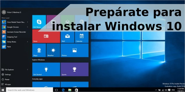 Preparate para instalar Windows 10