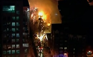 Blaze continues to burn in Century City Plaza