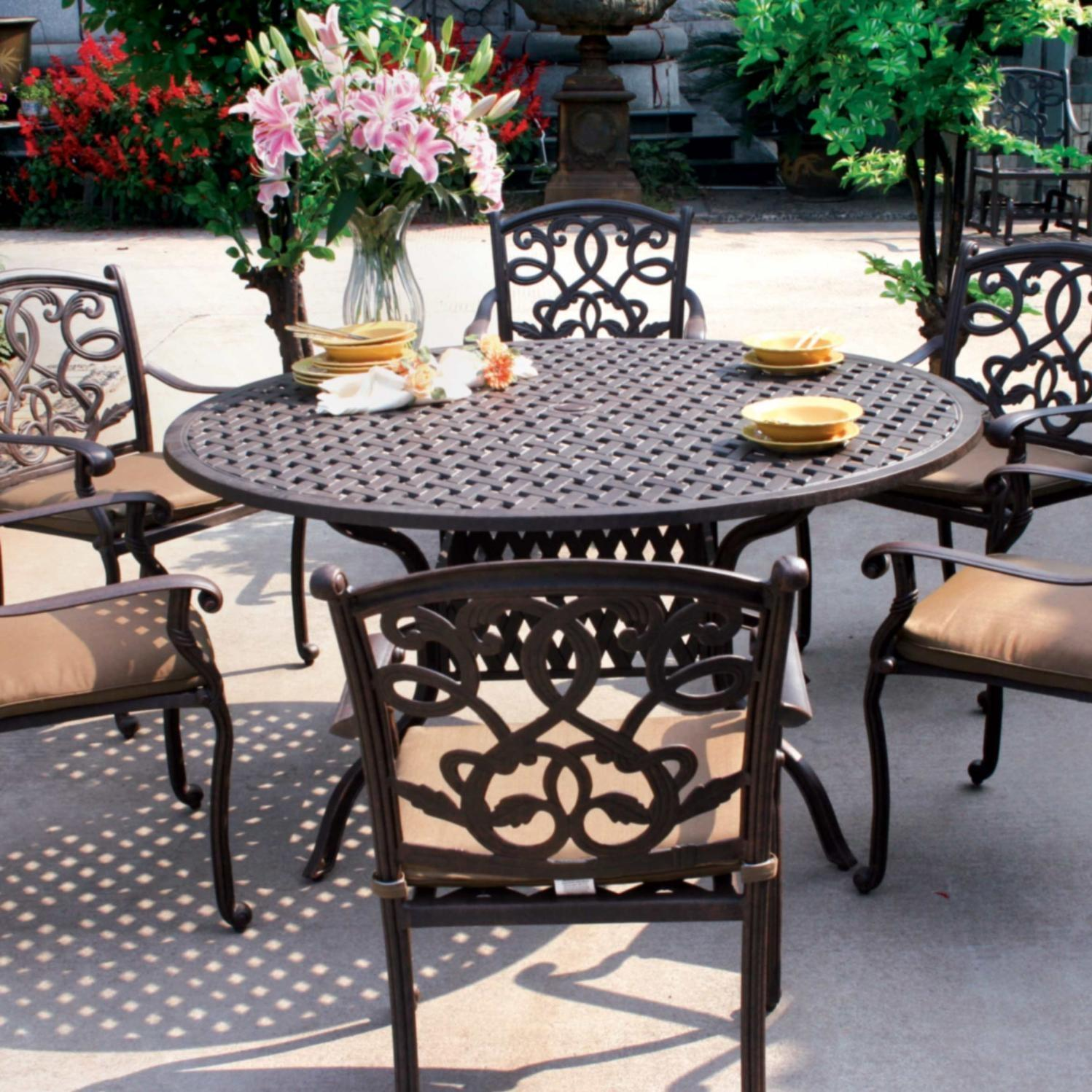 7 Piece Round Patio Dining Set Darlee Santa Monica 7 Piece Cast Aluminum Patio Dining Set