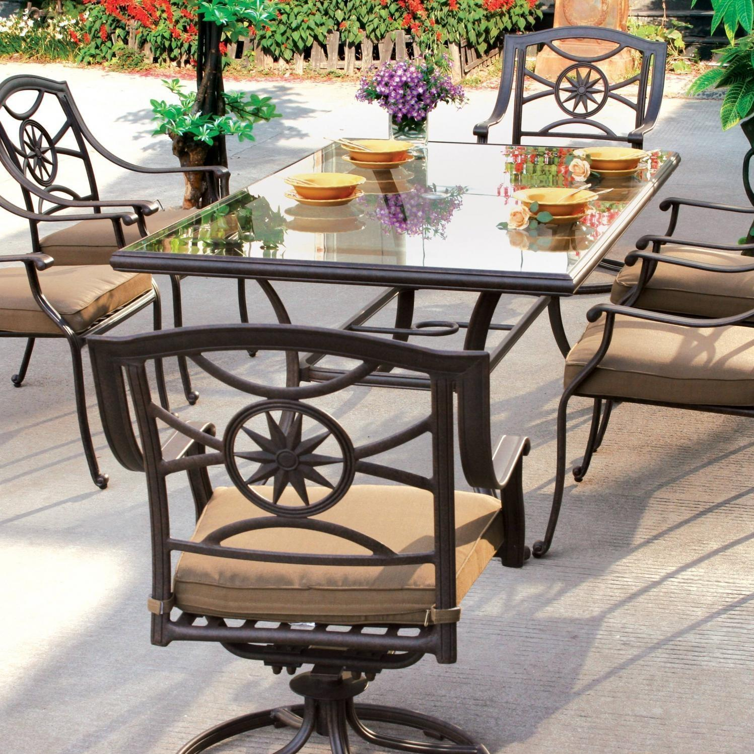 Glass Top Outdoor Table Darlee Ten Star 7 Piece Patio Dining Set Aluminum Glass Top