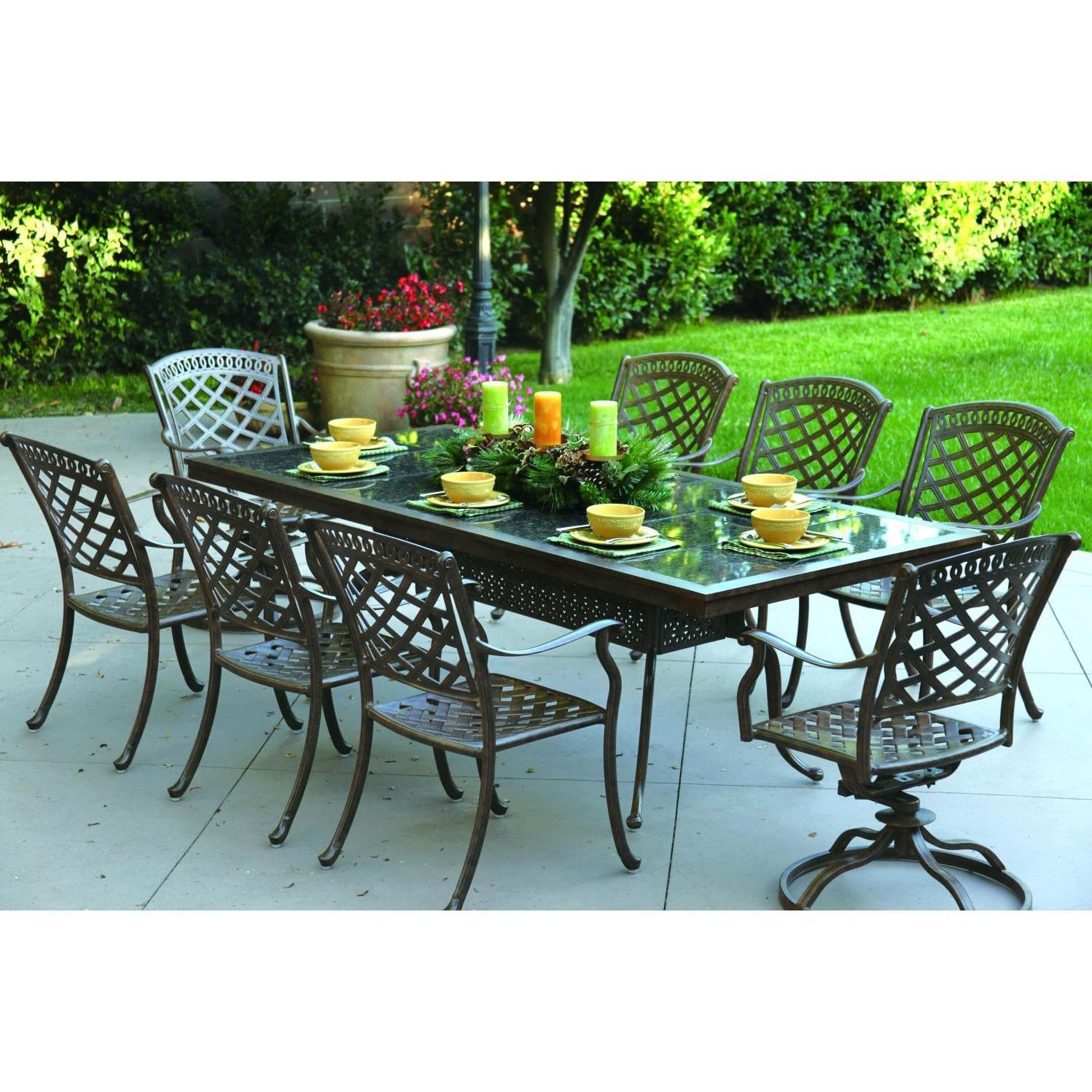 9 Piece Outdoor Dining Set Darlee Sedona 9 Piece Cast Aluminum Patio Dining Set With Rectangular Granite Top Table Mocha Brown Granite Tile
