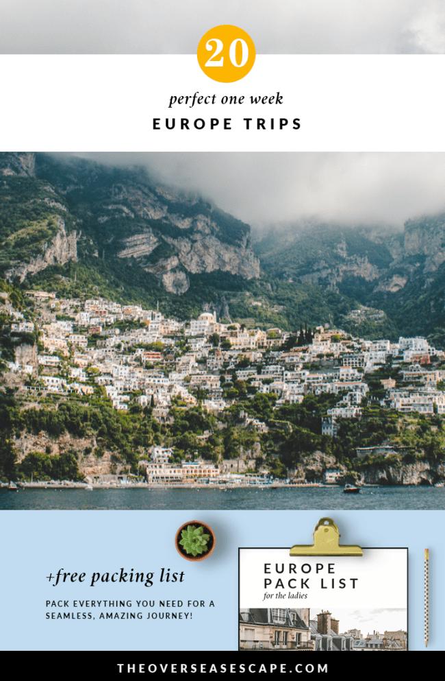 20 One Week Europe Trips + Packing List