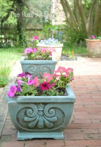 Transforming Old Concrete Planters and a Feature!