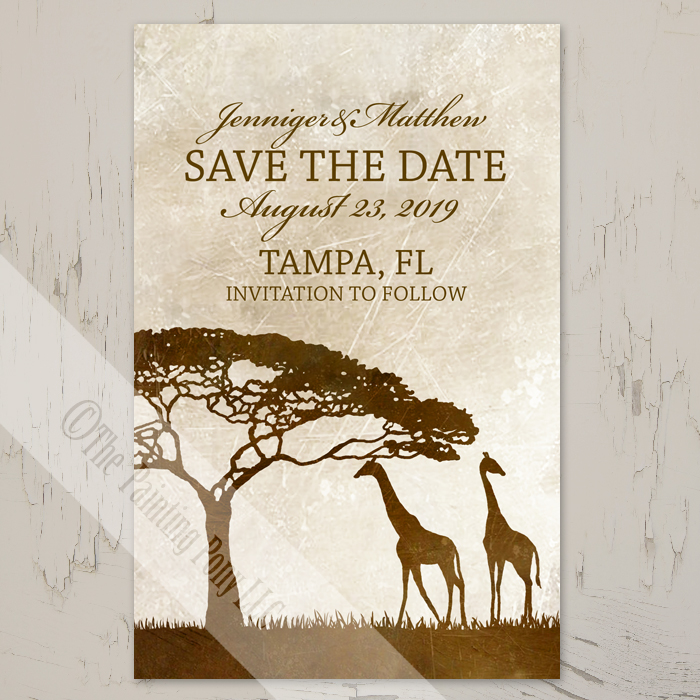 African Giraffes Save The Date Postcards (25 pk) - The Painting Pony