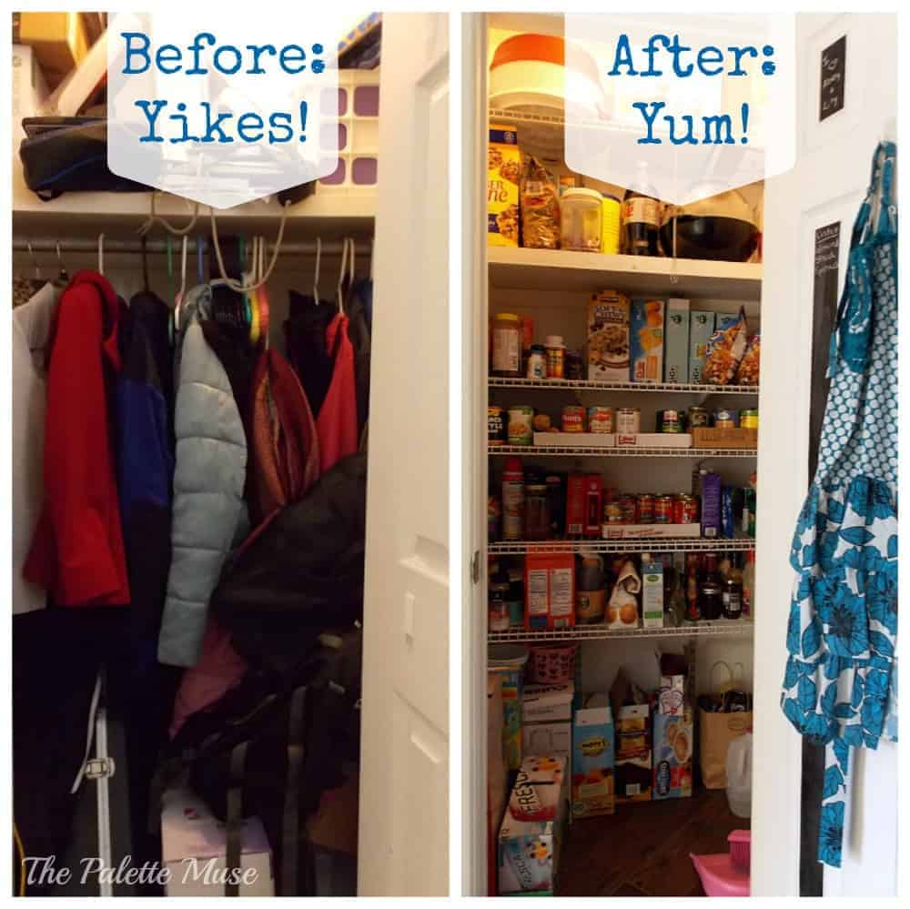 Closet Pantry Creating An Organized Pantry From A Hall Closet The Palette Muse