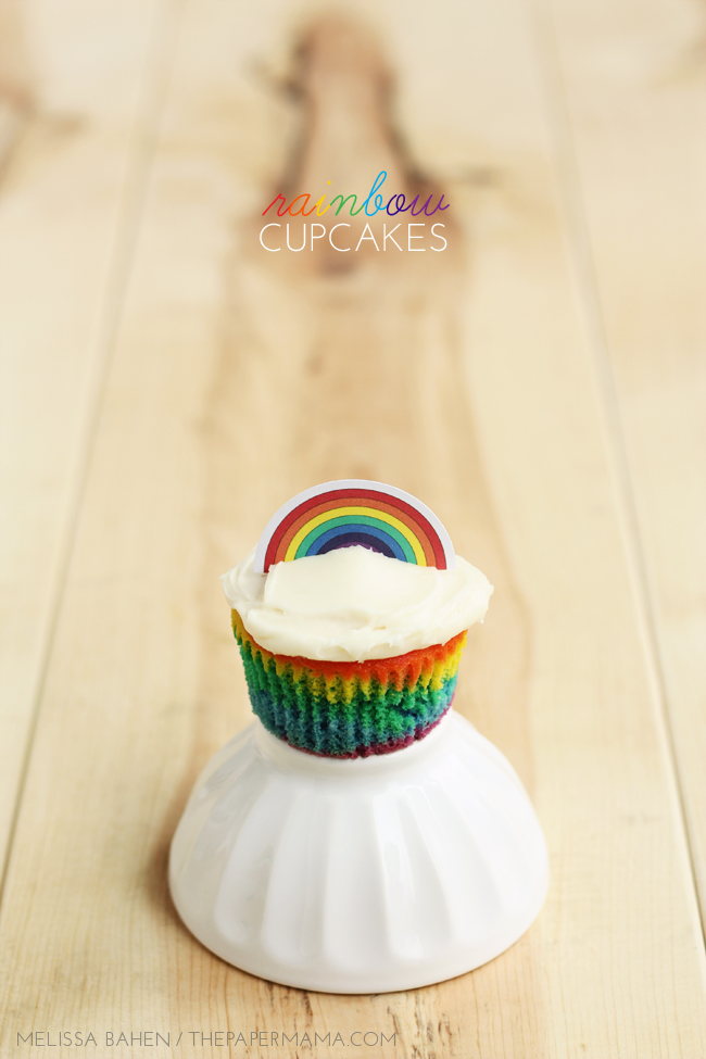 Rainbow Cupcake Recipe  Free Rainbow Cupcake Topper Printable