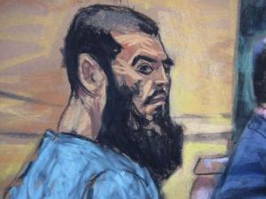 Abid Naseer, 26, is seen in a courtroom sketch as he pleads not guilty to terrorism charges in his first U.S. court appearance in New York in January 7, 2013. REUTERS/Jane Rosenberg