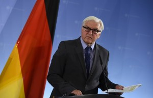German Foreign Minister Frank-Walter Steinmeier addresses the media after talks in Berlin on October 15, 2015. AFP PHOTO / TOBIAS SCHWARZ