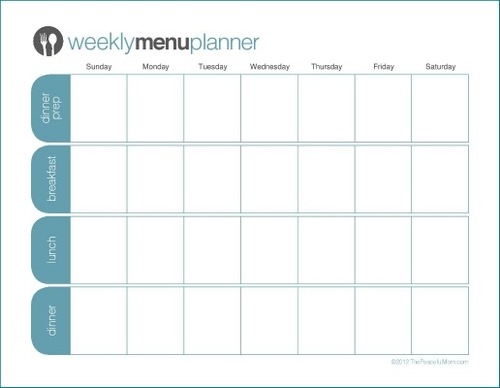 Click to Print TPM One Week Menu Planner - The Peaceful Mom