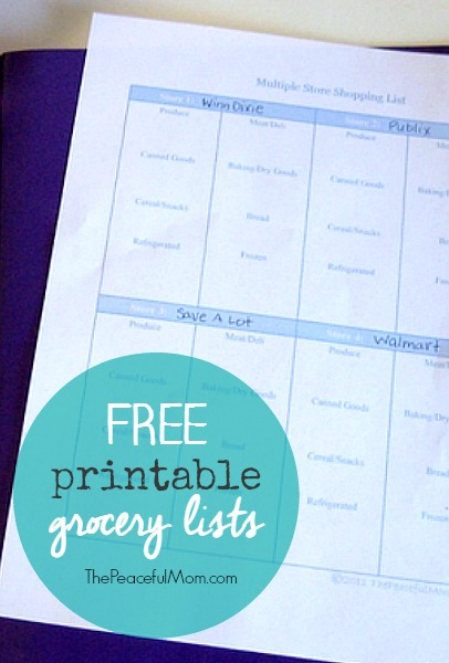 printable grocery list - The Peaceful Mom - shopping lists