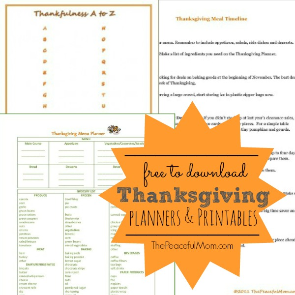 FREE Thanksgiving Planners! - The Peaceful Mom