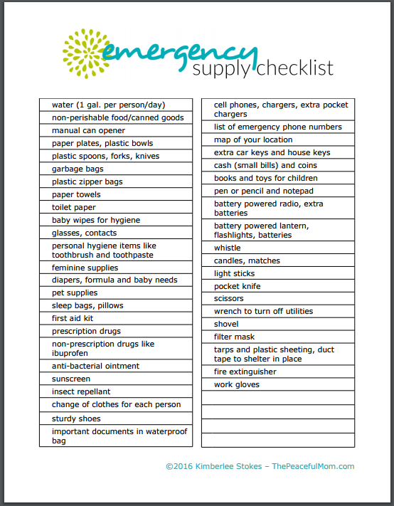 printable emergency contact list