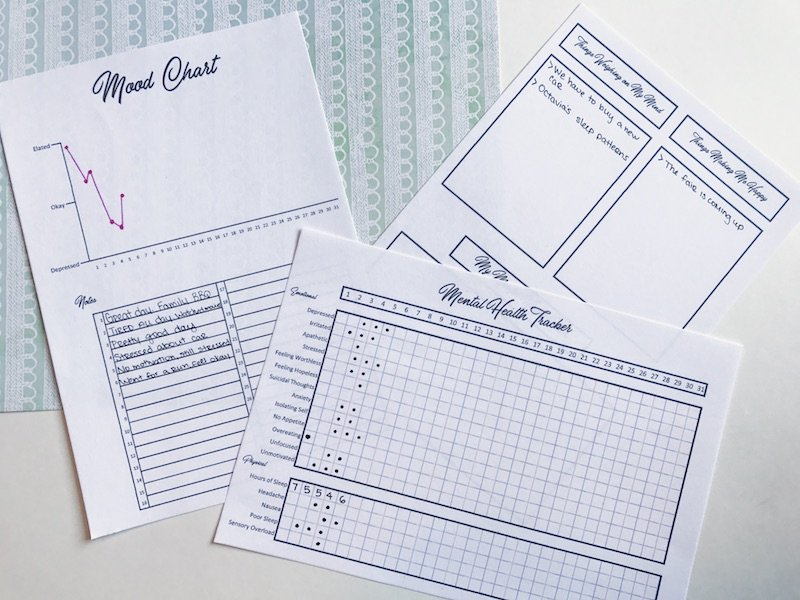 Printable Mental Health Tracker for Your Bullet Journal - The Petite - mood chart form