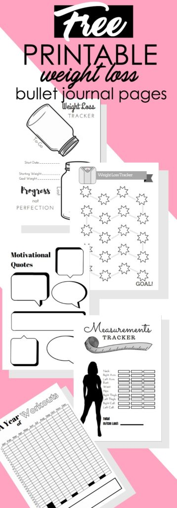 5 Free Printable Bullet Journal Weight Loss Pages - The Petite Planner