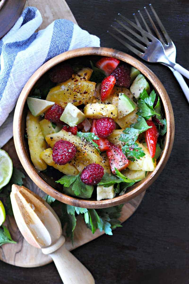 spicy pineapple salad with avocado and chilies   the pig & quill